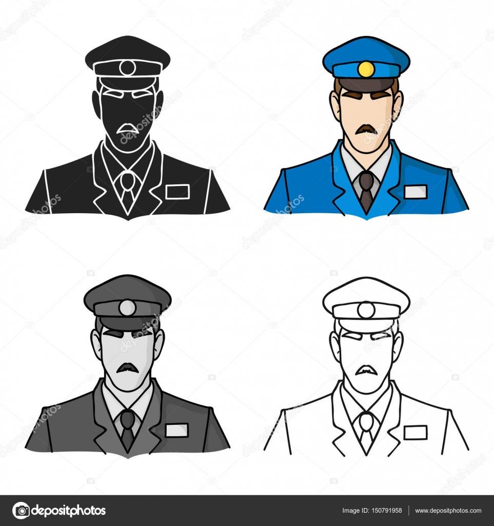 Museo guardia de seguridad en icono estilo de dibujos animados ...