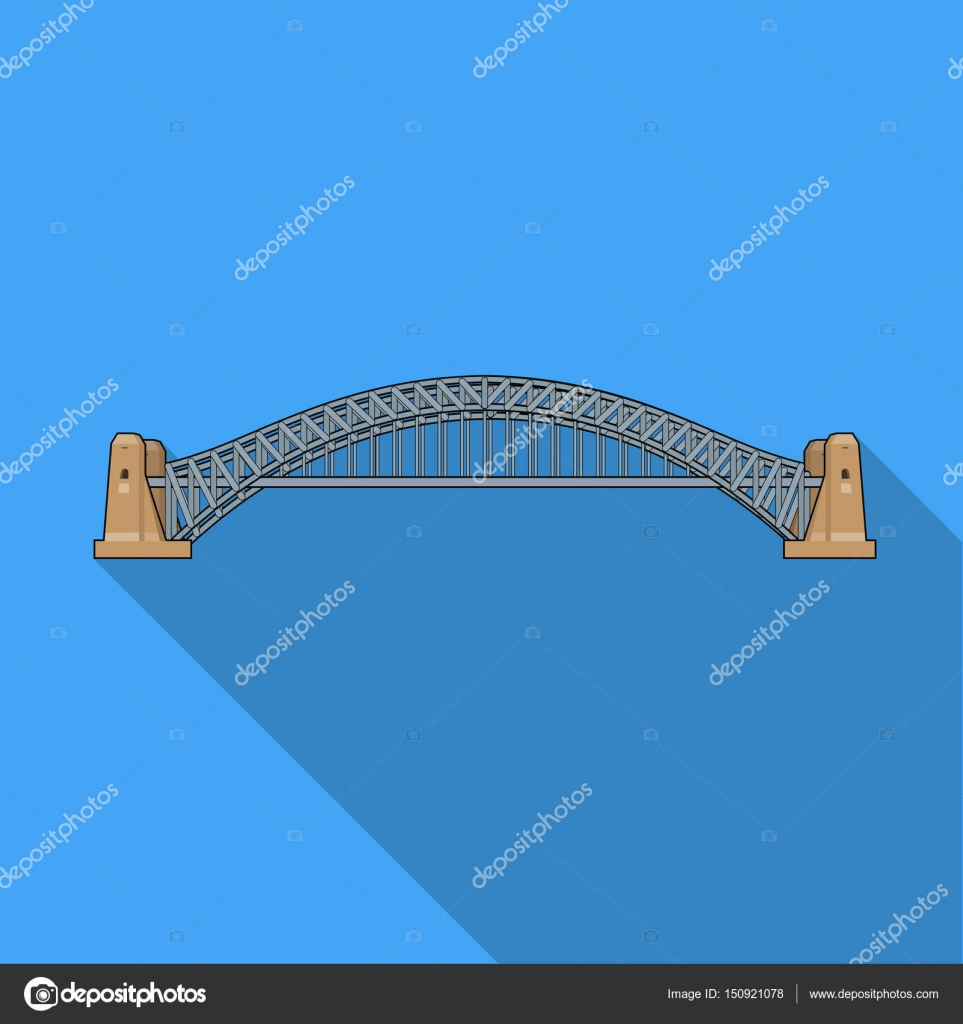 Sydney Harbour Bridge Icon In Flat Style Isolated On White Cantilever Diagram Related Keywords Design Background Australia Symbol Stock Vector Illustration By Pandavector