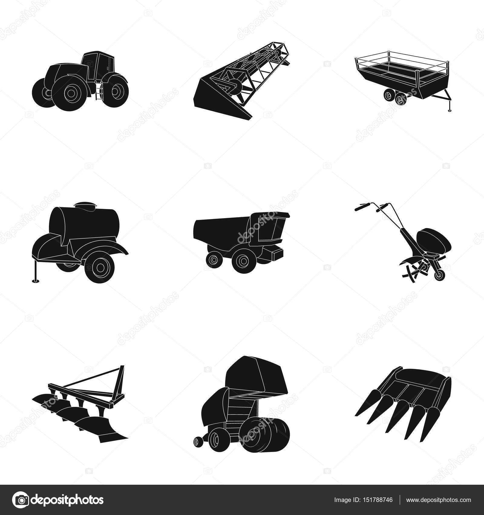 Satz von Bildern über Landmaschinen. Autos, Roboter auf den Boden ...