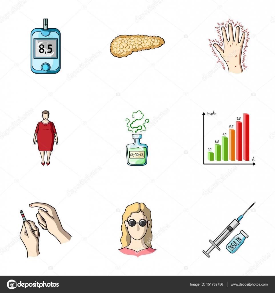 Un conjunto de iconos sobre diabetes mellitus. Síntomas y