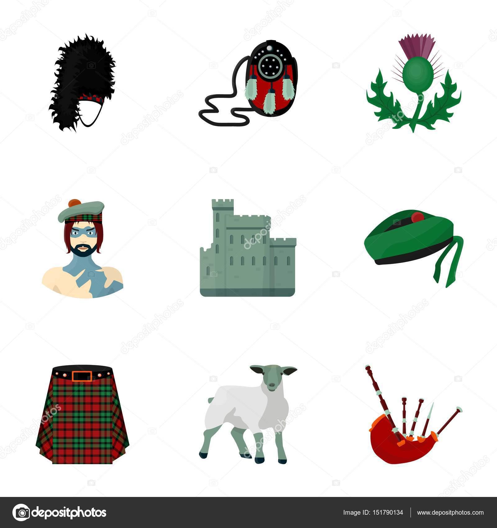 National symbols of scotland scottish attractions scotland national symbols of scotland scottish attractions scotland country icon in set collection on cartoon biocorpaavc Images
