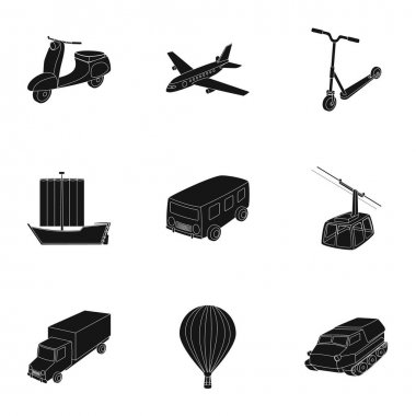 Set of pictures about types of transport. Transportation of people, cargo. Ground, underwater, air transport. Transport icon in set collection on black style vector symbol stock illustration.