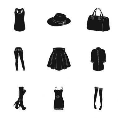 Pictures about types of womens clothing. Outerwear and underwear for women and girls. Woman clothes icon in set collection on black style vector symbol stock illustration.