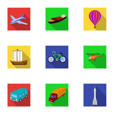 Set of pictures about types of transport. Transportation of people, cargo. Ground, underwater, air transport. Transport icon in set collection on flat style vector symbol stock illustration.