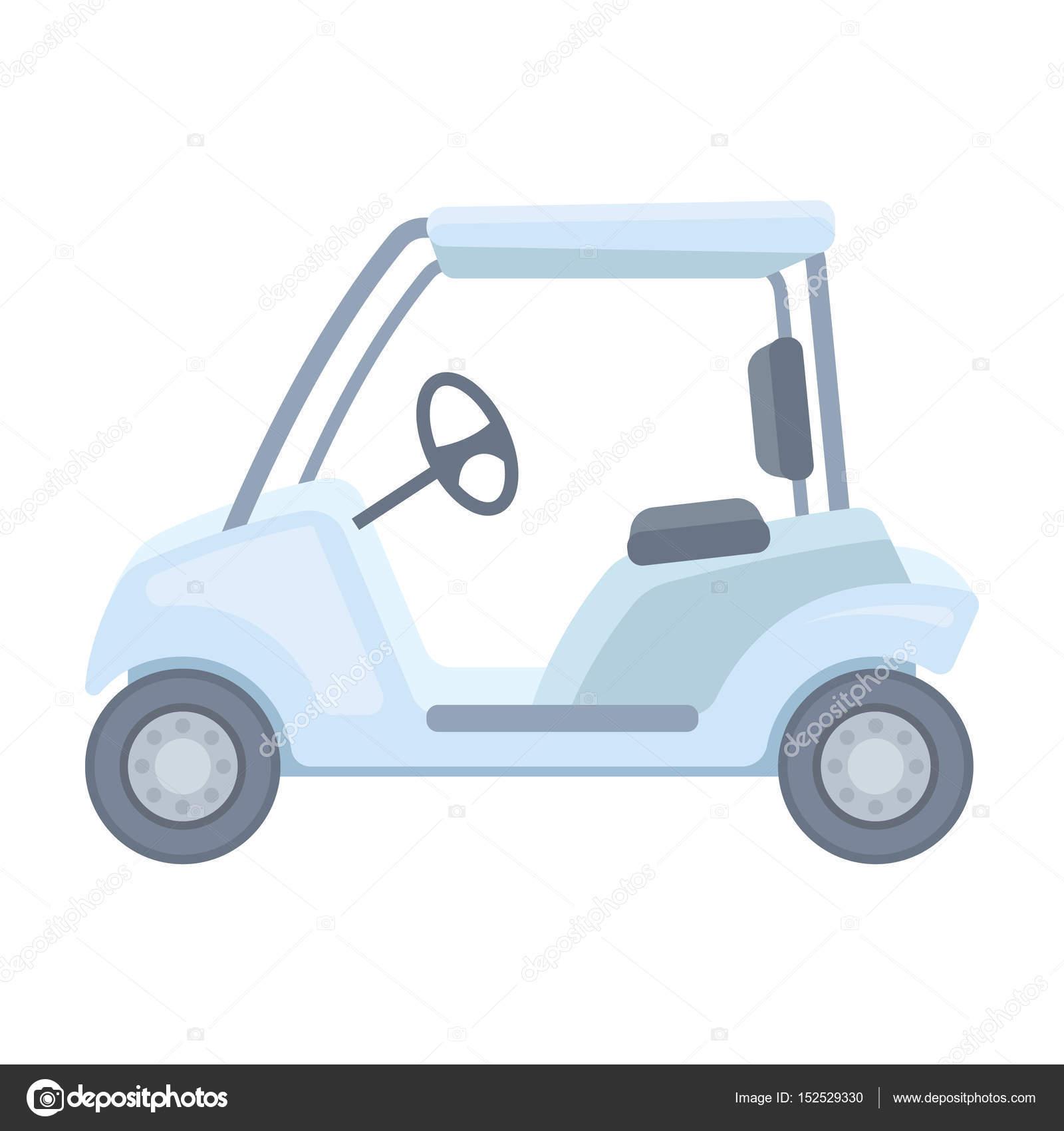 carro de golfe clube de golfe único ícone em desenho animado estilo