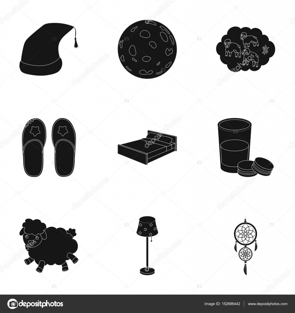 A set of pictures on a theme a dream rest bed accessories for a set of pictures on a theme a dream rest bed accessories for resteep and rest icon in set collection on black style vector symbol stock web biocorpaavc Choice Image