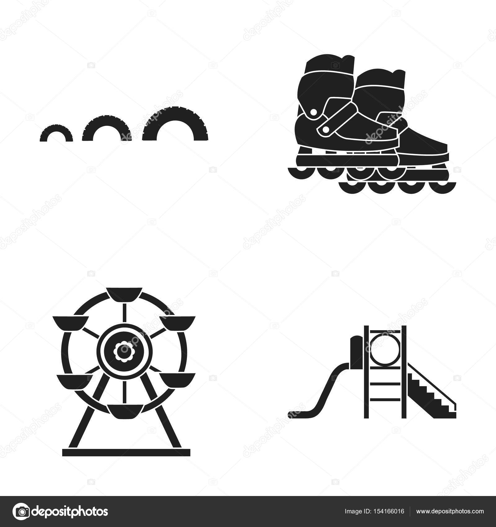 Ferris wheel with ladder scooter playground set collection icons ferris wheel with ladder scooter playground set collection icons in black style vector symbol biocorpaavc