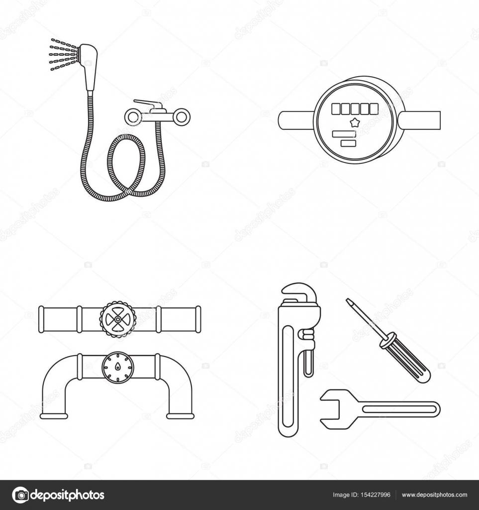 Shower, faucet, water meter and other equipment.Plumbing set ...