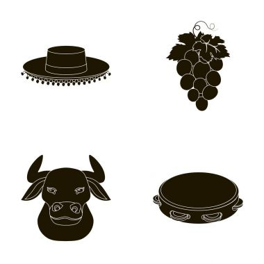 The hat of the todeador, the matador, a bunch of grapes with fists, a bull for the Spanish bullfight, a tambourine. Spain country set collection icons in black style vector symbol stock illustration