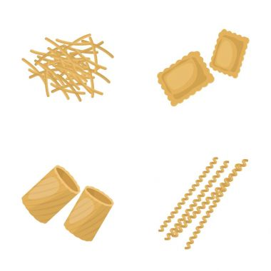 Different types of pasta. Types of pasta set collection icons in cartoon style vector symbol stock illustration web.