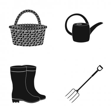 Basket wicker, watering can for irrigation, rubber boots, forks. Farm and gardening set collection icons in black style vector symbol stock illustration web.