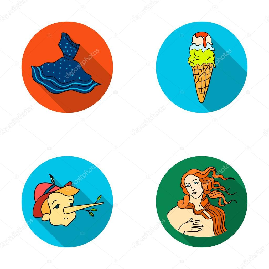 Italian dress, gelato, pinocchio, goddess of love. Italy set collection icons in flat style vector symbol stock illustration web.