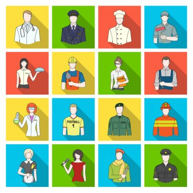 Doctor, worker, military, artist and other types of profession.Profession set collection icons in flat style vector symbol stock illustration web.