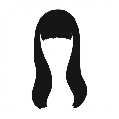 Dark long.Back hairstyle single icon in black style vector symbol stock illustration web.
