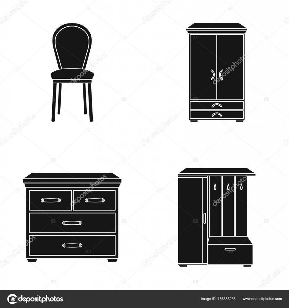 Sillón, mesa de noche, armario. Muebles y hogar interiorset ...