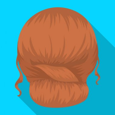 Red combed behind.Back hairstyle single icon in flat style vector symbol stock illustration web.