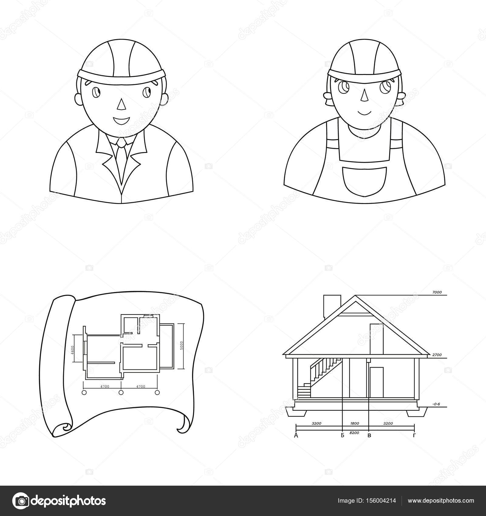 Engineer Constructor Construction Worker Site Plan Technical Drawing Of The House Architecture Set Collection Icons In Outline Style Vector Symbol Stock