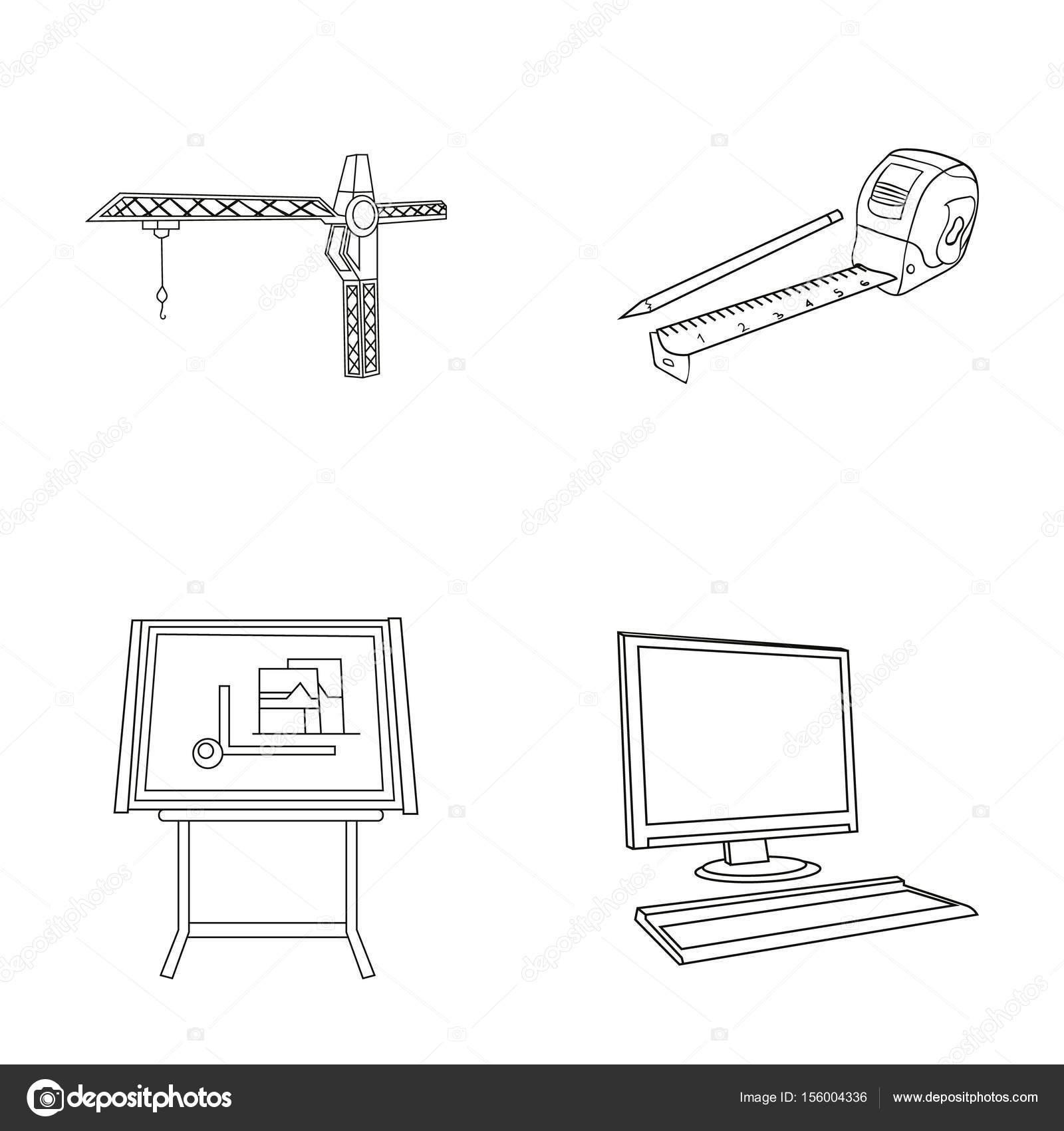 construction crane measuring tape measure drawing board computer rh depositphotos com Parts of a Tape Measure Tape- Measure