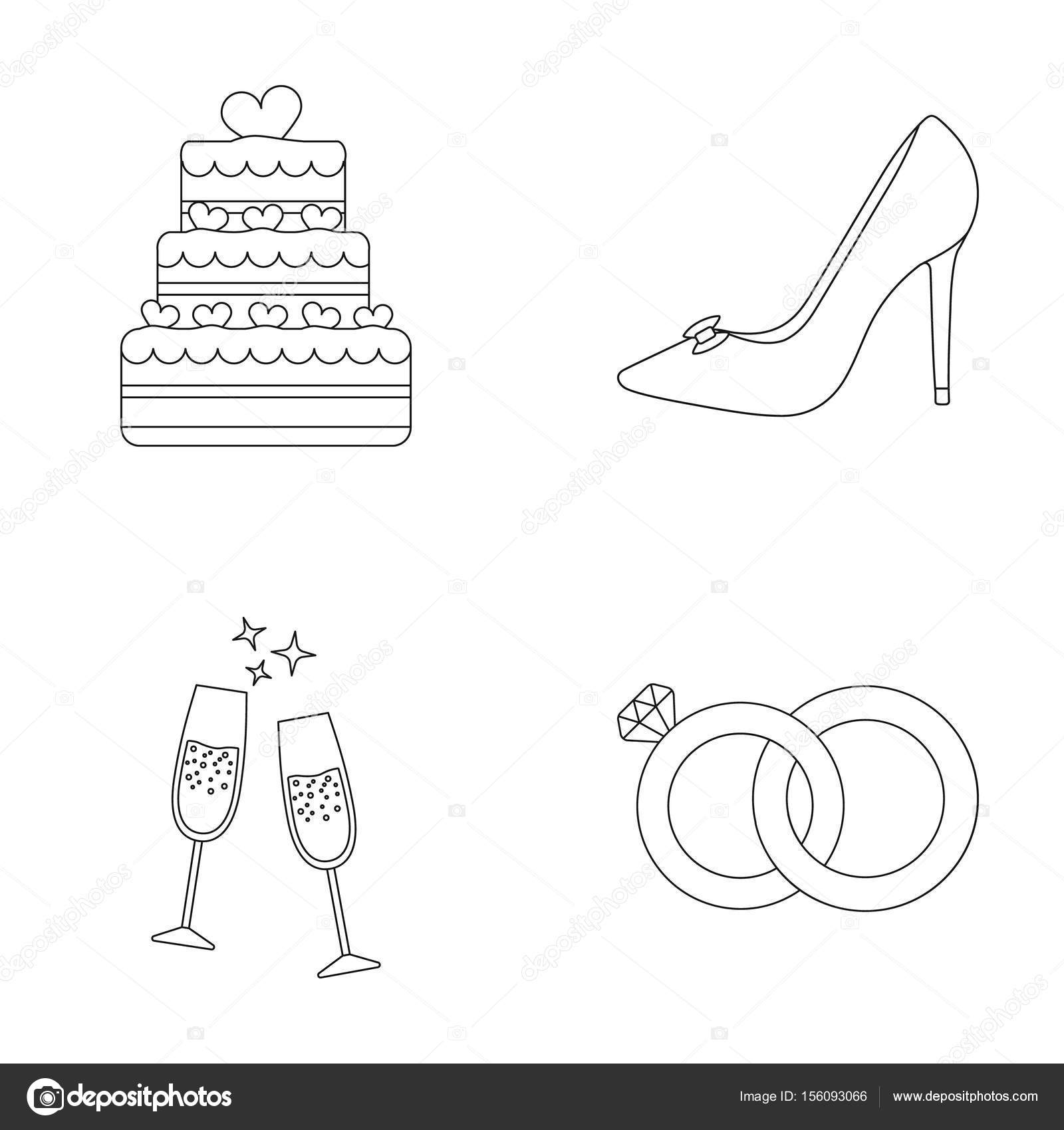 Wedding Cake Brides Shoes Champagne Glasses Wedding Rings - Wedding Cake Outline