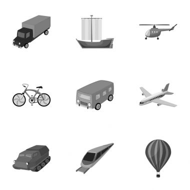 Set of pictures about types of transport. Transportation of people, cargo. Ground, underwater, air transport. Transport icon in set collection on monochrome style vector symbol stock illustration.