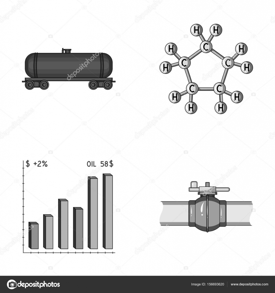 Railway tank chemical formula oil price chart pipeline valve railway tank chemical formula oil price chart pipeline valve oil set collection icons in monochrome style vector symbol stock illustration biocorpaavc