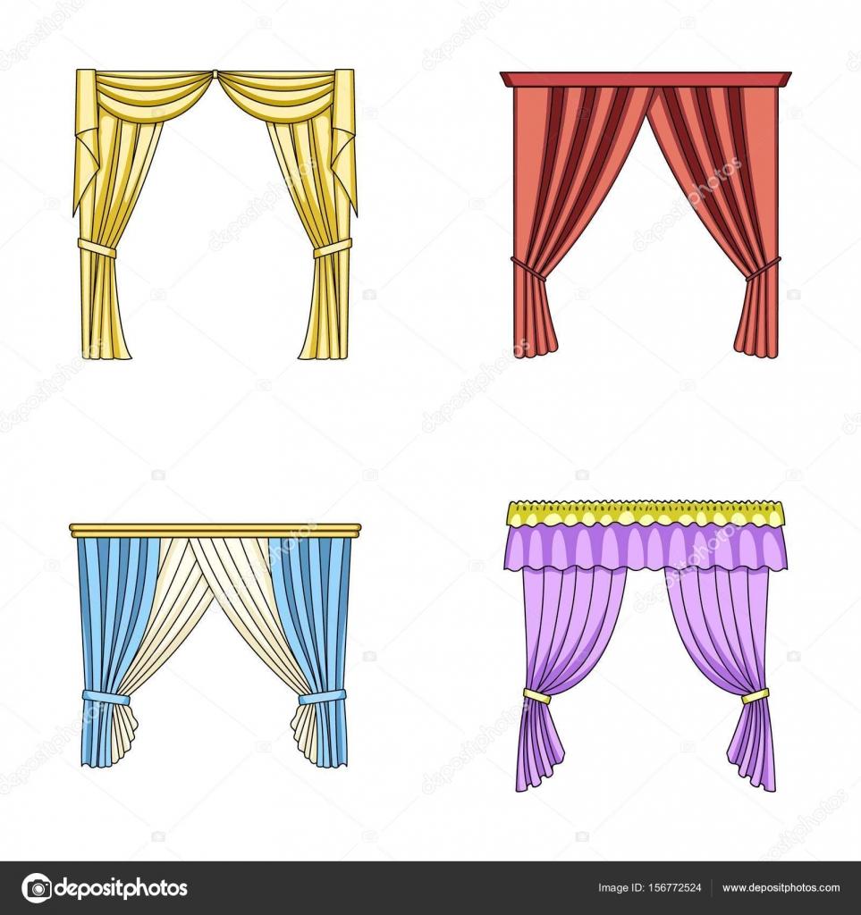 Diferentes tipos de cortinas da janela cortinas defina cones de cole o em desenho animado - Diferentes tipos de cortinas ...
