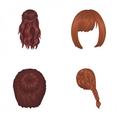 Kara, red braid and other types of hairstyles. Back hairstyle set collection icons in cartoon style vector symbol stock illustration web.