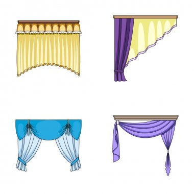 Different types of window curtains.Curtains set collection icons in cartoon style vector symbol stock illustration web.