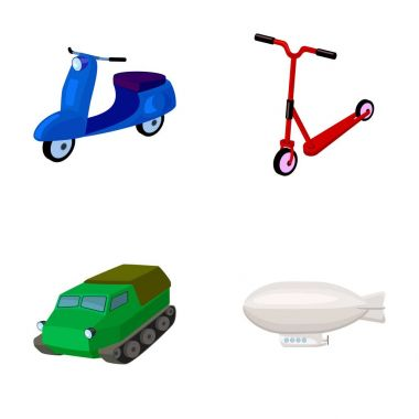 Motorcycle, scooter, armored personnel carrier, aerostat types of transport. Transport set collection icons in cartoon style vector symbol stock illustration web.