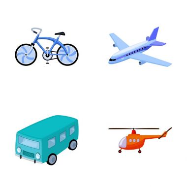 Bicycle, airplane, bus, helicopter types of transport. Transport set collection icons in cartoon style vector symbol stock illustration web.