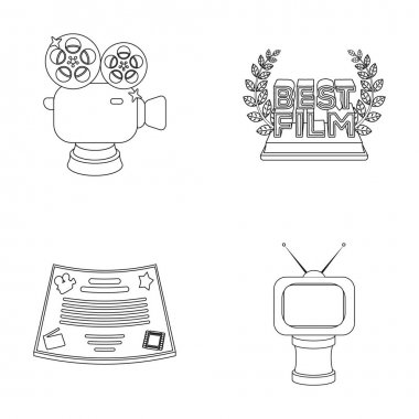Silver camera. A bronze prize in the form of a TV and other types of prizes.Movie award,sset collection icons in outline style vector symbol stock illustration web.