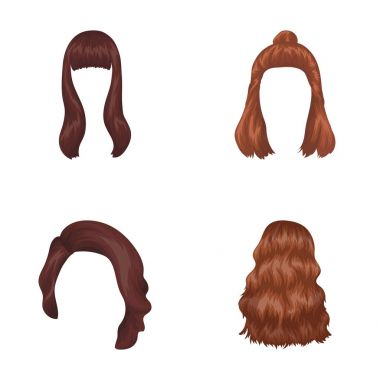 Long, red and other types of hairstyles. Back hairstyle set collection icons in cartoon style vector symbol stock illustration web.