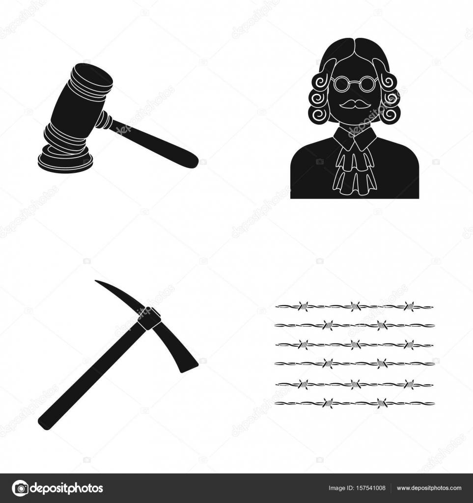Richter, Holzhammer, Stacheldraht, Spitzhacke. Gefängnis stellen ...