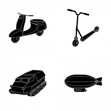 Motorcycle, scooter, armored personnel carrier, aerostat types of transport. Transport set collection icons in black style vector symbol stock illustration web.