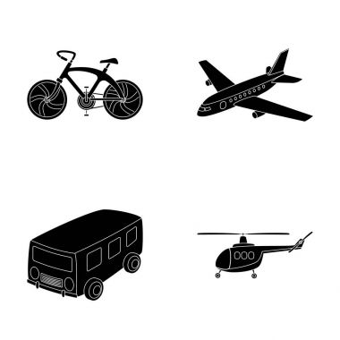 Bicycle, airplane, bus, helicopter types of transport. Transport set collection icons in black style vector symbol stock illustration web.