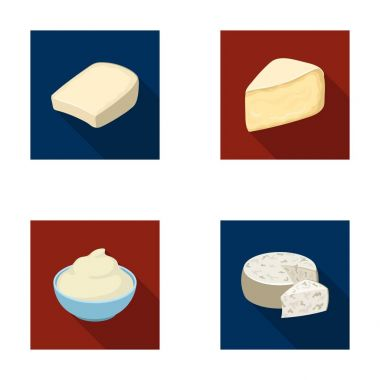 Gruyere, camembert, mascarpone, gorgonzola.Different types of cheese set collection icons in flat style vector symbol stock illustration web.