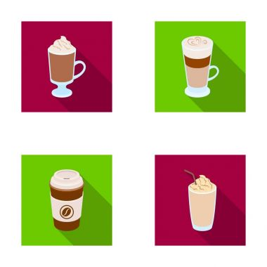 Mocha, macchiato, frappe, take coffee.Different types of coffee set collection icons in flat style vector symbol stock illustration web.