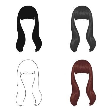Dark long.Back hairstyle single icon in cartoon style vector symbol stock illustration web.