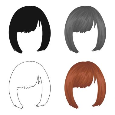 Square.Back hairstyle single icon in cartoon style vector symbol stock illustration web.