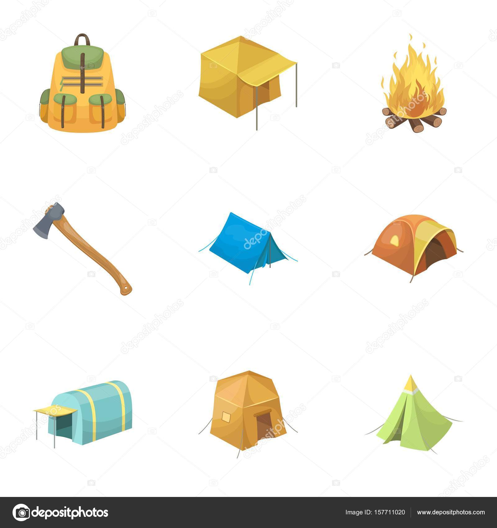 Various kinds of tents and other tourist accessories. The tent set collection icons in cartoon  sc 1 st  Depositphotos & Various kinds of tents and other tourist accessories. The tent set ...