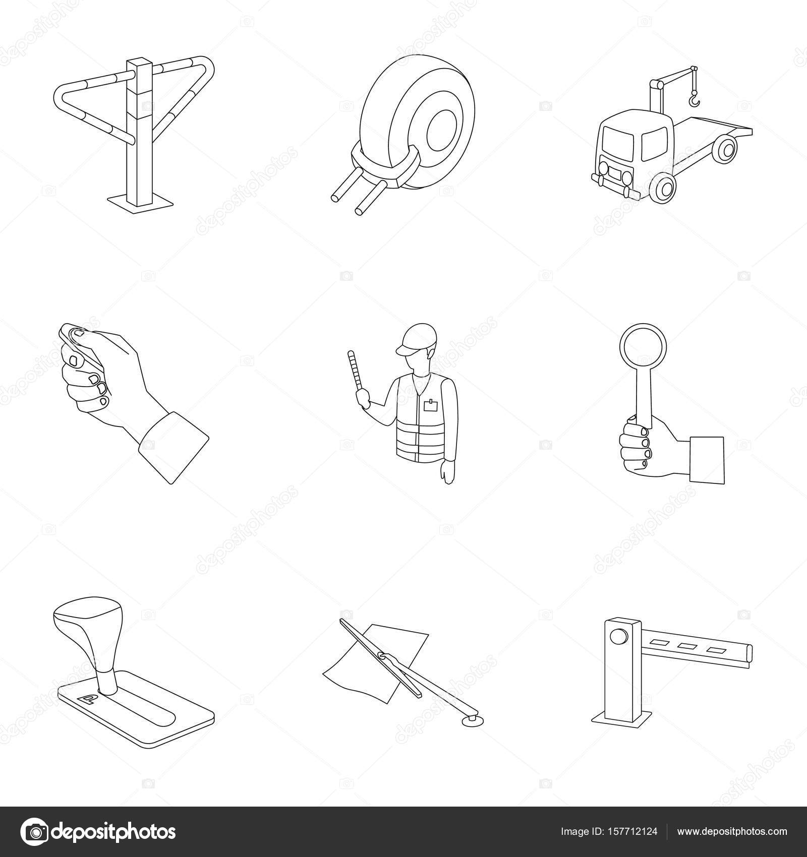A set of icons for parking cars and bicycles fines and elements a set of icons for parking cars and bicycles fines and elements of parking parking zone icon in set collection on outline style vector symbol stock web buycottarizona