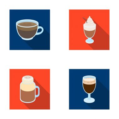 Esprecco, glase, milk shake, bicerin.Different types of coffee set collection icons in flat style vector symbol stock illustration web.