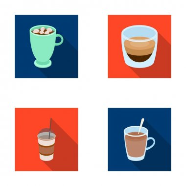 Ristretto, hot chocolate, latte take-away.Different types of coffee set collection icons in flat style vector symbol stock illustration web.