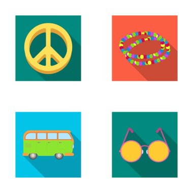 A hippie sign, beads, a bus, round glasses.Hippy set collection icons in flat style vector symbol stock illustration web.