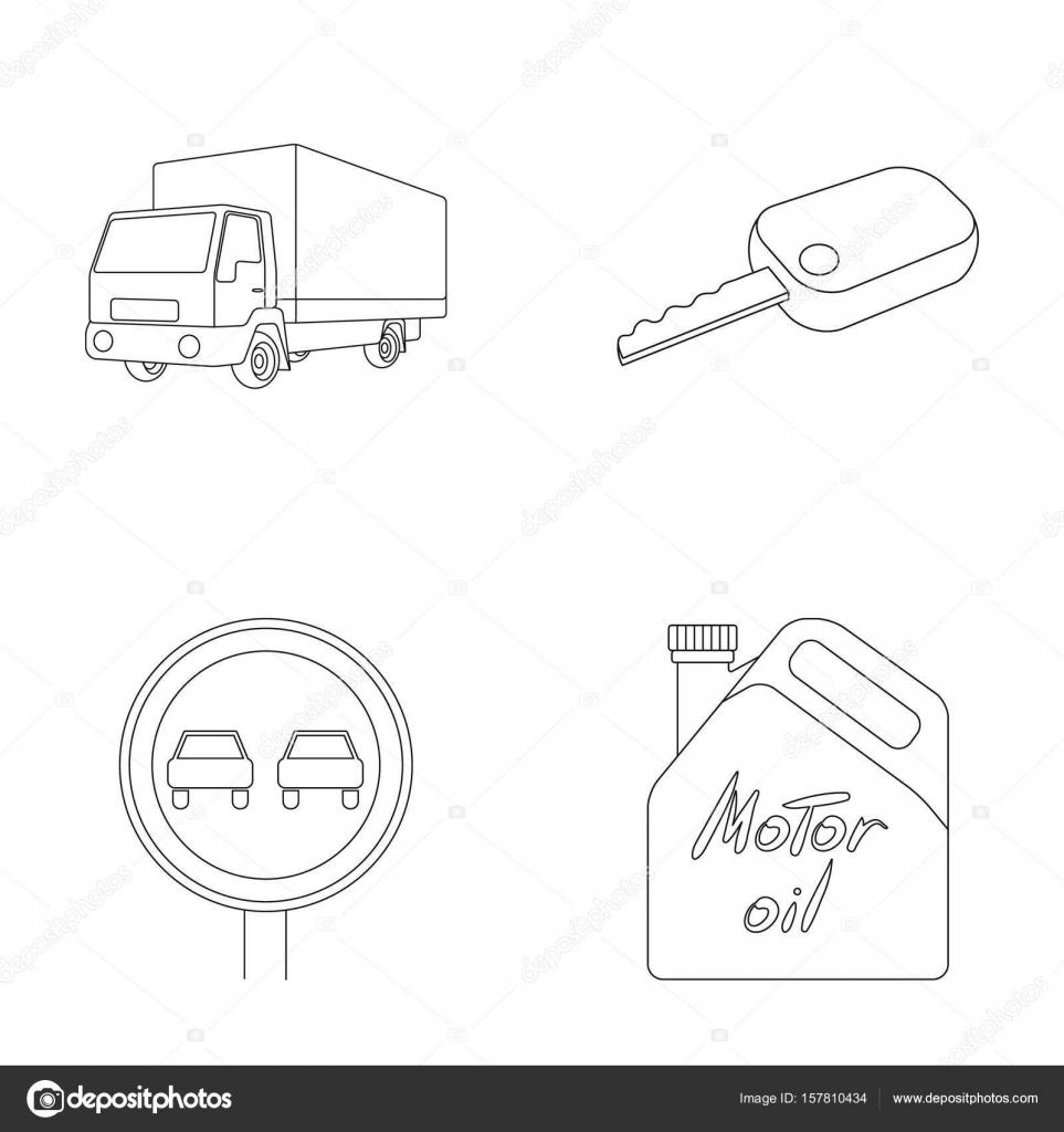 349d1aef292236 Ciężarówka z kluczyka, znak zakazu, markizy, olej silnikowy w kanistrze,  pojazd kolekcja zestaw ikon w www ilustracji symbol wektor zarys styl–  ilustracja ...