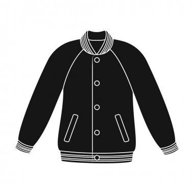 Uniform baseball jacket. Baseball single icon in black style vector symbol stock illustration . stock vector