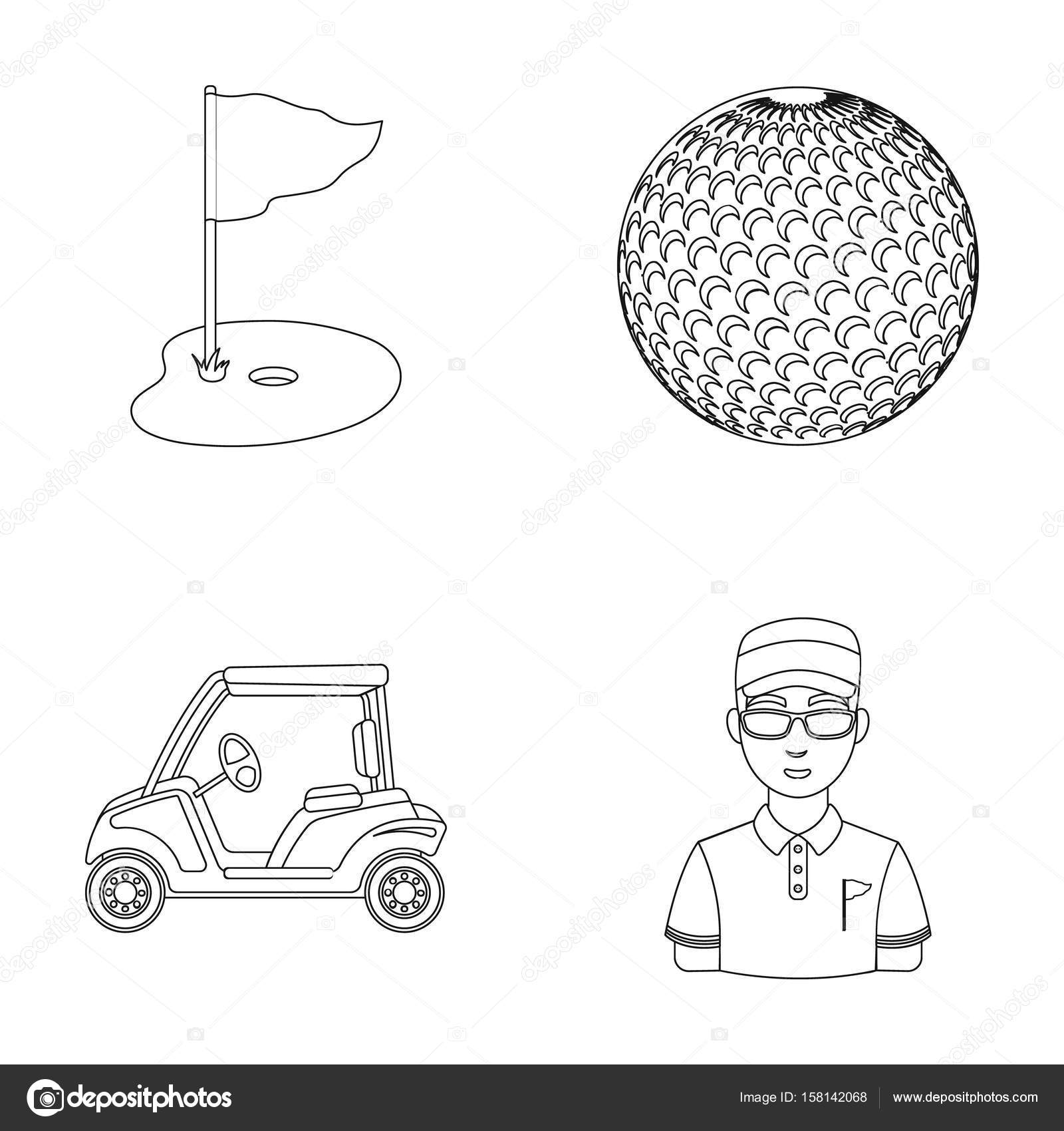 Field With A Hole And A Flag A Golf Ball A Golfer An Electric