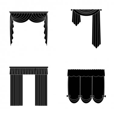 Different types of window curtains.Curtains set collection icons in black style vector symbol stock illustration web.