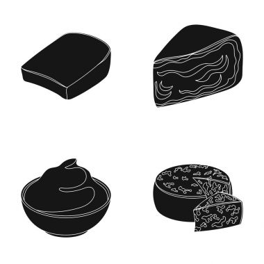 Gruyere, camembert, mascarpone, gorgonzola.Different types of cheese set collection icons in black style vector symbol stock illustration web.