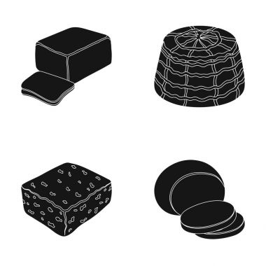 Mozzarella, feta, cheddar, ricotta.Different types of cheese set collection icons in black style vector symbol stock illustration web.